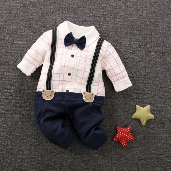 Stylish Faux Suspender Bow Tie Decor Polo Collar Jumpsuit for Baby