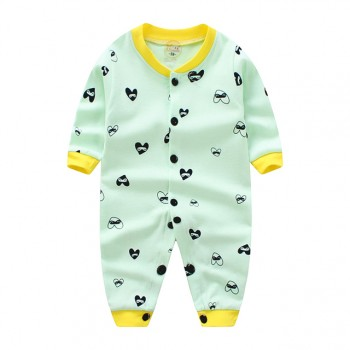Stylish Heart Print Short-sleeve Jumpsuit for Baby