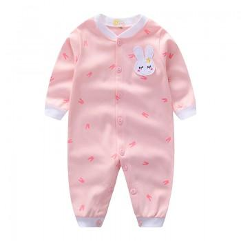Adorable Bunny Print Long-sleeve Jumpsuit for Baby Girl