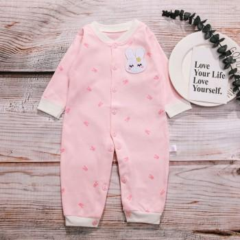 Adorable Bunny Print Long-sleeve Jumpsuit for Baby