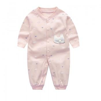 Lovely Cat Applique Long-sleeve Jumpsuit for Baby