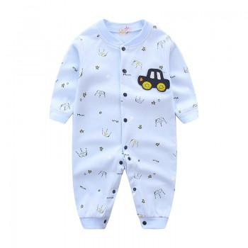 Baby Boy's Car Applique Crown Print Long Sleeves Jumpsuit