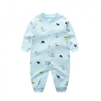 Baby Boy's Crown Print Long Sleeves Jumpsuit