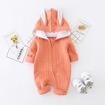 Stylish 3D Ears Hooded Long-sleeve Jumpsuit for Babies