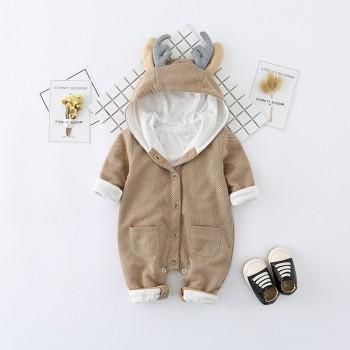 Cute Deer Shape Long-sleeve Hooded One Piece for Baby