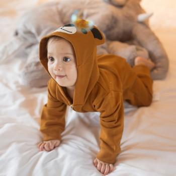 Adorable Bear Long Sleeve Hooded Jumpsuit for Baby (Unisex)