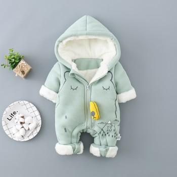 Baby's Lovely Fleece-lined Hooded Jumpsuit in Pink