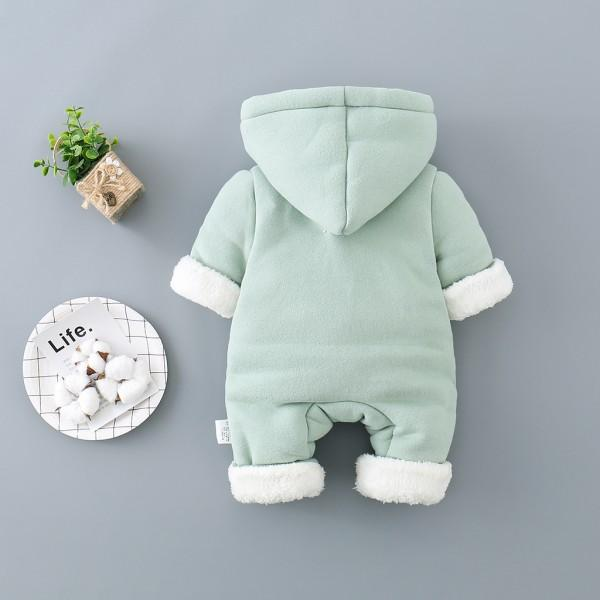 Baby's Lovely Fleece-lined Hooded Jumpsuit