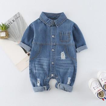 Cool Pocket Rip Denim Jumpsuit for Baby