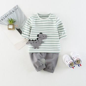 2-piece Cute Dinosaur Striped Long Sleeves Tee and Pants for Baby