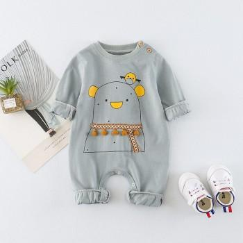 Adorable Bear Print Long-sleeve Jumpsuit for Babies