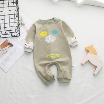 Comfy Geo Cloud Print Cotton Jumpsuit for Baby