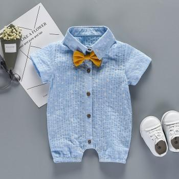 Handsome Star Print Bow Decor Short-sleeve Jumpsuit for Baby Boy