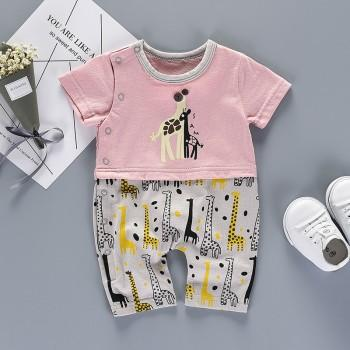 Pretty Color Block Giraffe Print Short Sleeves Jumpsuit for Baby Girl