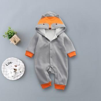 Baby's Cute Long Sleeves Fox Hooded Jumpsuit