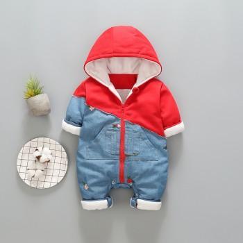 Stylish Denim Splice Hooded Long-sleeve Jumpsuit for Baby