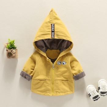 Comfy Eyes Applique Solid Hooded Coat for Baby