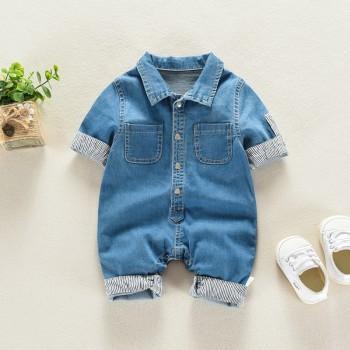 Trendy Long-sleeve Pocket Design Denim Bodysuit for Baby Boy