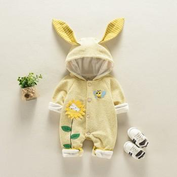 Super Cute Sunflower and Bee Applique Hooded Jumpsuit