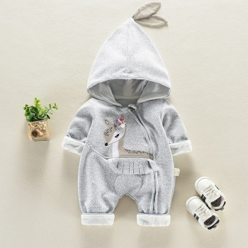 Cute Deer Appliqued Long-sleeve Hooded Jumpsuit for Baby