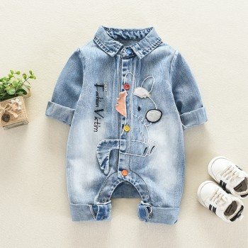 Lovely Pony Embroidery Letter Print Applique Denim Jumpsuit for Baby