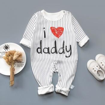 Stylish Stripes I LOVE DADDY Print Long-sleeve Jumpsuit