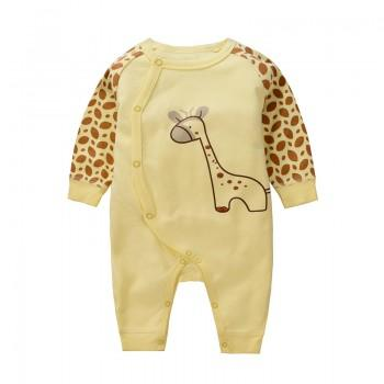 Cute Giraffe Print Long-sleeve Yellow Cotton Jumpsuit for Baby