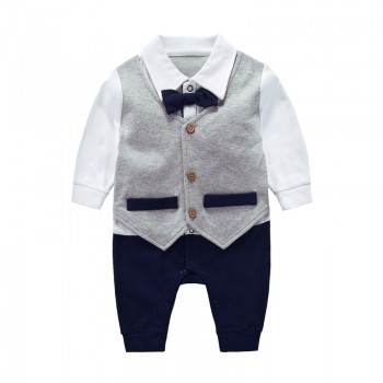 Faux-two Trendy Waistcoat Design Jumpsuit for Baby Boy