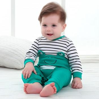 Comfy Frog Applique Striped Long-sleeve Jumpsuit for Baby Boy