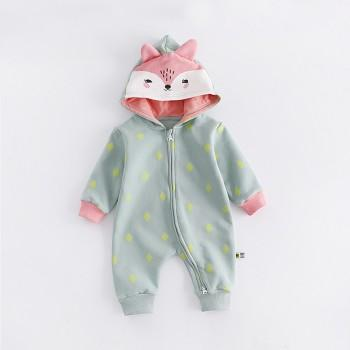 Lovely Fox Hooded Zip-up Jumpsuit for Babies