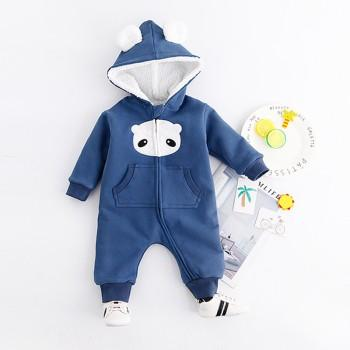 Lovely 3D Ears Long-sleeve Hooded Jumpsuit for Newborn/Baby