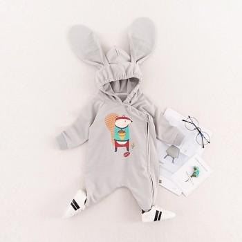 Lovely Squirrel Printed Hooded Zip-up Long Sleeves Jumpsuit for Baby