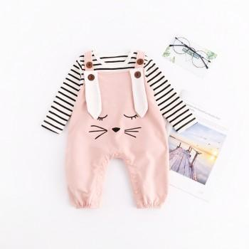 2-piece Stripes Top and Rabbit Embroidery Overall for Baby