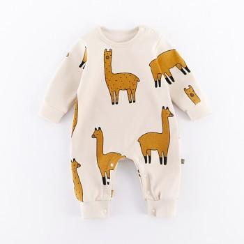 Sweet Alpaca Pattern Jumpsuit in Beige for Baby