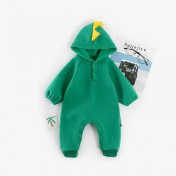 Trendy Dinosaur Design Long-sleeve Hooded Jumpsuit in Green for Baby Boy