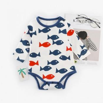 Cute Red and Blue Fish Pattern Long-sleeve Bodysuit for Baby