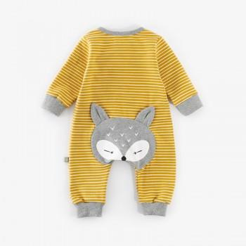 Stylish Back Squirrel Applique Striped Long Sleeves Jumpsuit for Baby Boy