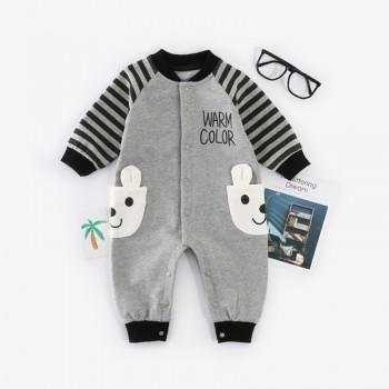 Warm Color Bear Pocket Decor Long-sleeve Baby Jumpsuit