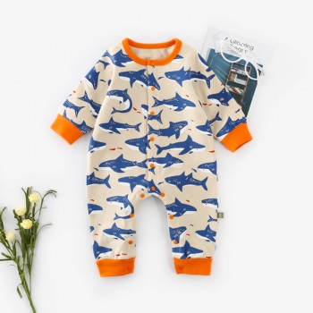 Swimming Shark Pattern Long-sleeve Baby Jumpsuit