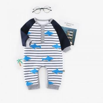 Comfy Shark Print Striped Long-sleeve Jumpsuit for Baby Boy