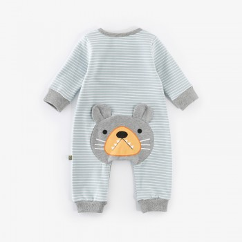 Funny Bear with Big Teeth Striped Jumpsuit for Baby