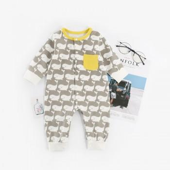 Lovely Whale Pattern Long-sleeve Jumpsuit for Baby