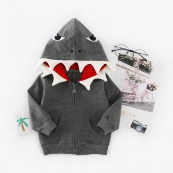 Cute Shark Design Appliqued Eyes Hooded Jacket for Baby and Toddler