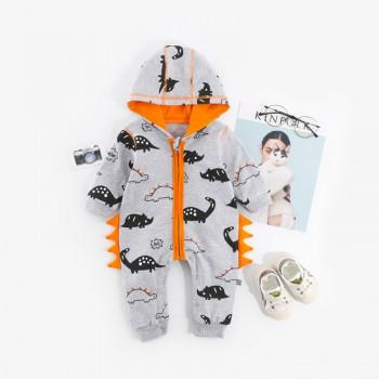 Super Cute Dinos Print Hooded Jumpsuit for Baby Boy