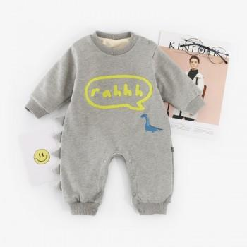 Soft Dinosaur Print Long-sleeve Jumpsuit in Grey for Baby Boy