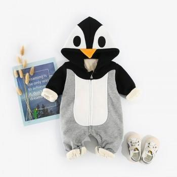 Adorable Penguin Design 3D Applique Fleece-lining Jumpsuit for Baby Boy