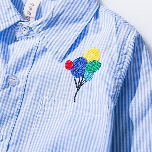 Stylish Striped Embroidered Balloon Long-sleeve Shirt for Boy