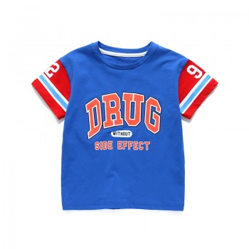 Boy's Comfy Sporty Short Sleeves Letter Tee