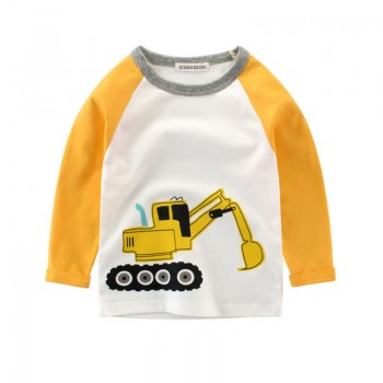 Cute Digger Print Color-blocking Long-sleeve T-shirt for Toddler Boy and Boy