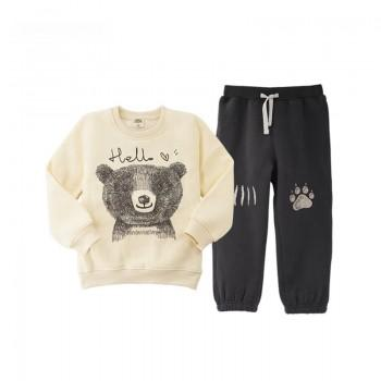 Comfy Cartoon Print Long-sleeve Pullover and Pants Set for Toddler Boy and Boy